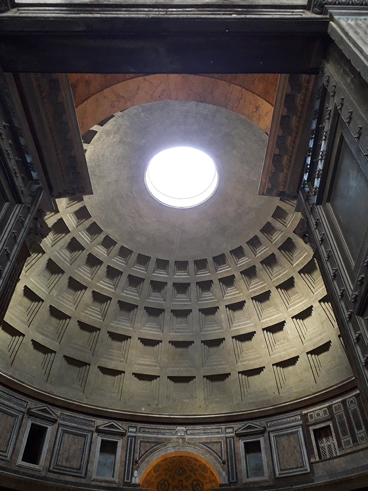 Natural Light helps illuminate the interior space of the Pantheon.