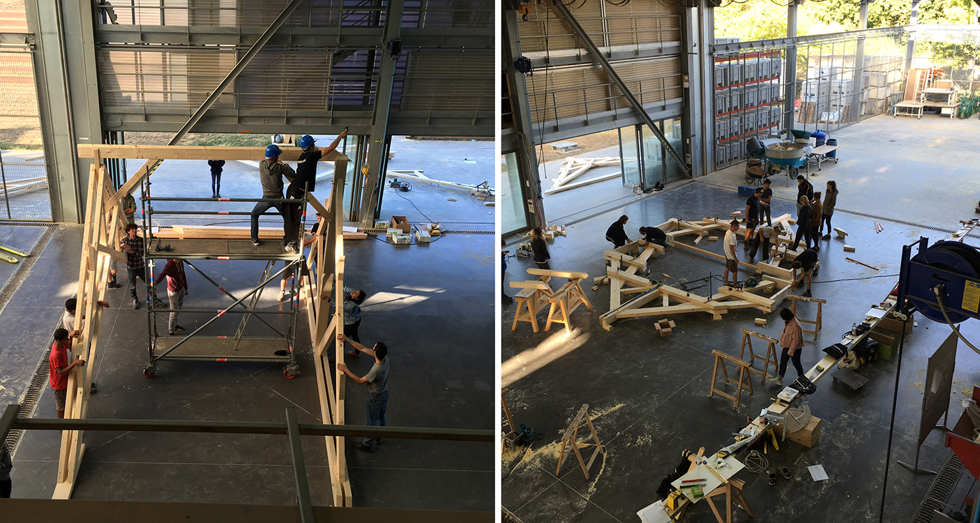 The two pictures show people working on a large wooden structure.