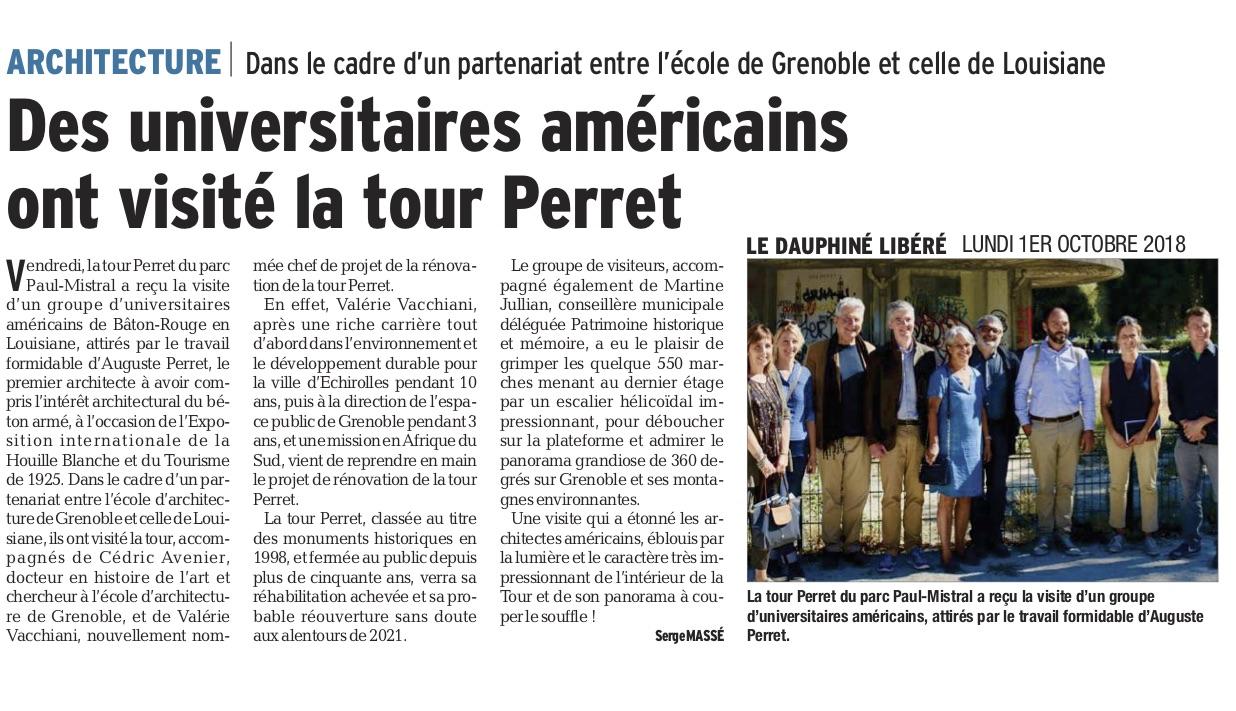 """Article by Serge Massé. Entitled """" Des universitaires américains ont visité la tour Perret."""""""
