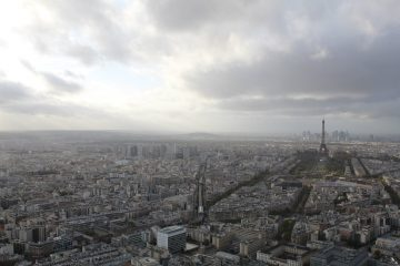 A view of Paris, France from a high vantage point.