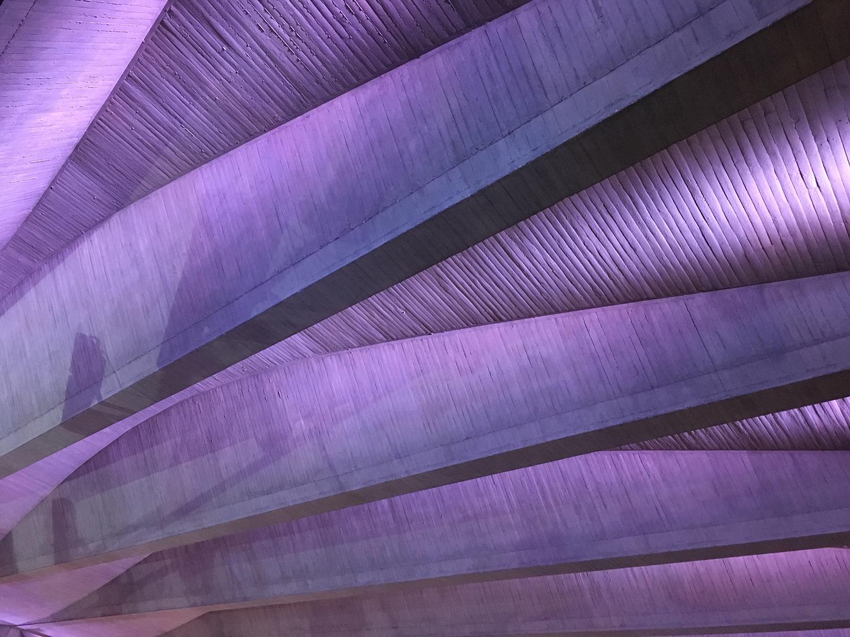 A uniquely designed concrete ceiling.